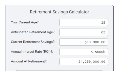 Retirement savings calculator with completed fields