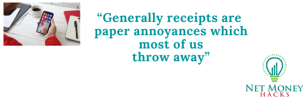 A quote on how receipt apps make money compared to the old paper annoyances