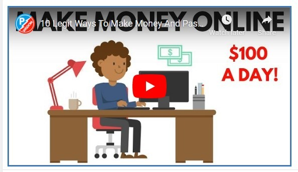 YouTube banner of a video on 10 legit ways to make money online