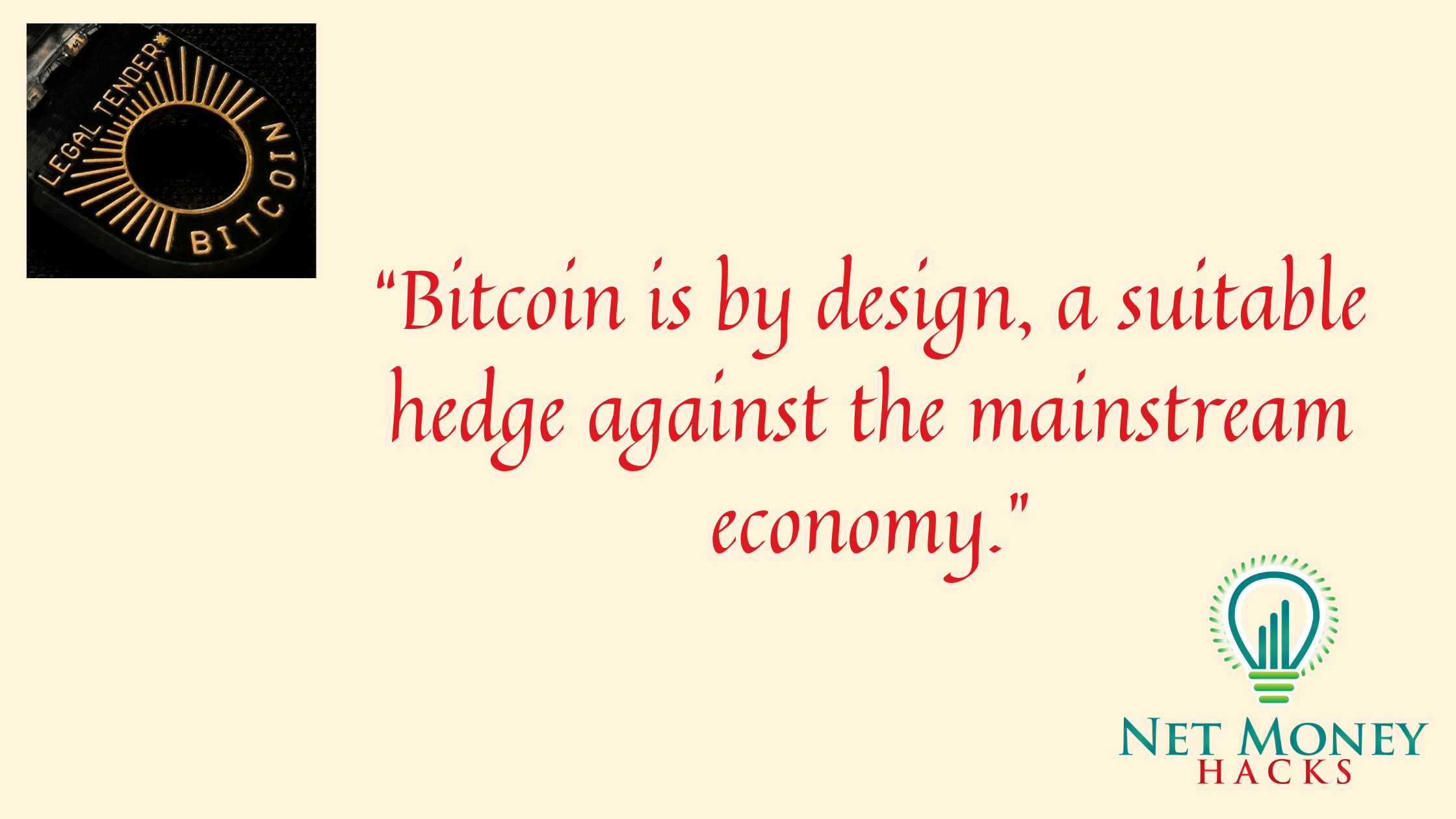 A banner showing bitcoin guide quote design as a hedge