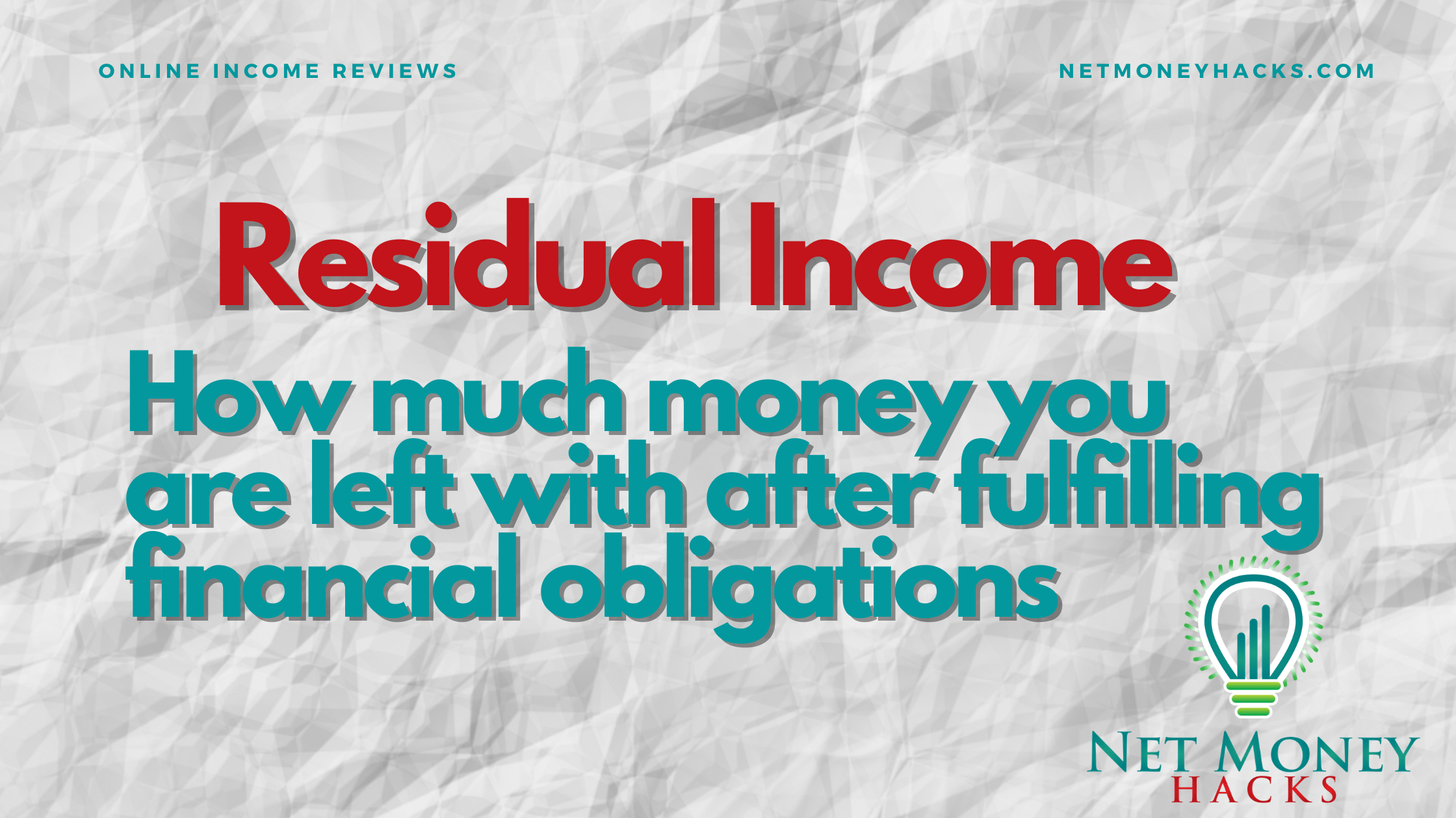 Banner explaining residual income